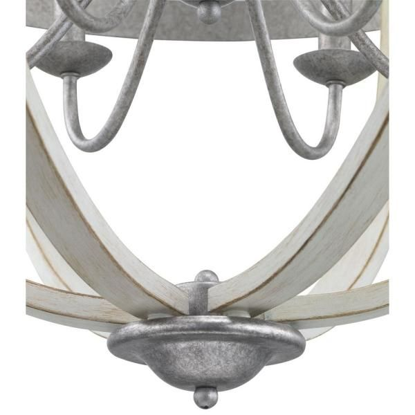 Progress Lighting Keowee 6 Light Galvanized Orb Chandelier With Antique White Wood Accents P400129 141 In 2020 Orb Chandelier Wood Accents White Wood