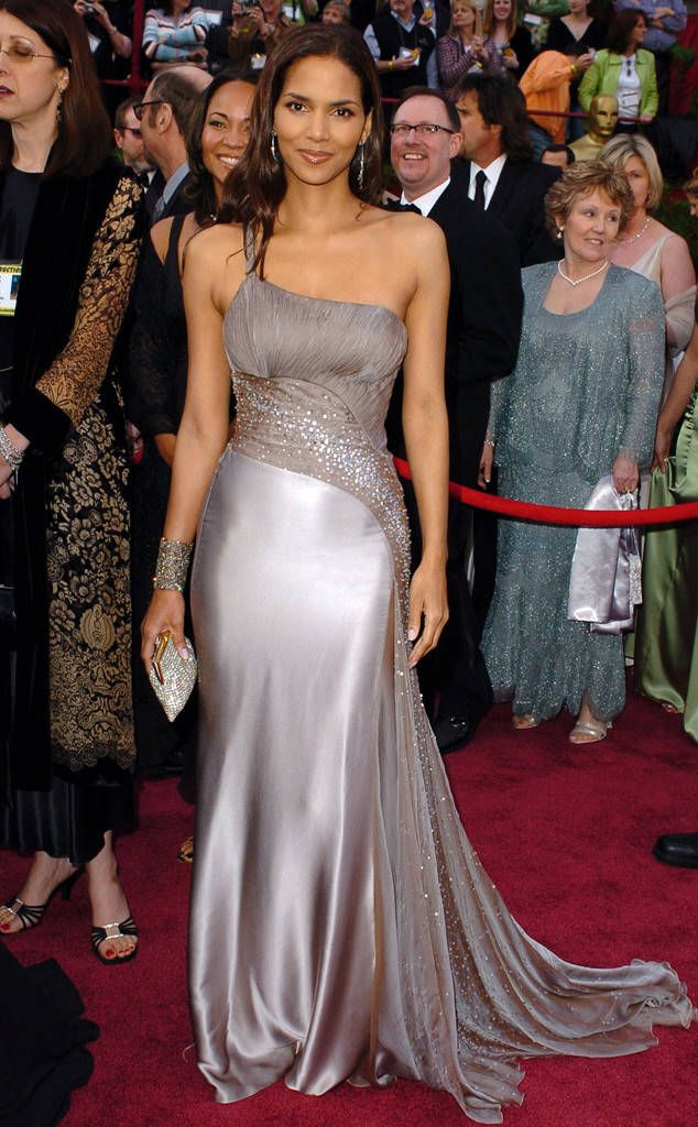 Ever So Ethereal from Halle Berry's Best Looks  The star wowed in a silvery one-shoulder Atelier Versace confection at the 2005 Oscars.