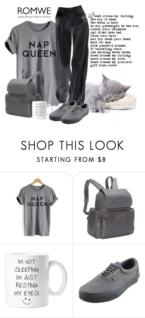 """Romwe grey letter print cuffed t shirt"" by lorrainekeenan ❤ liked on Polyvore featuring Le Donne and Vans"