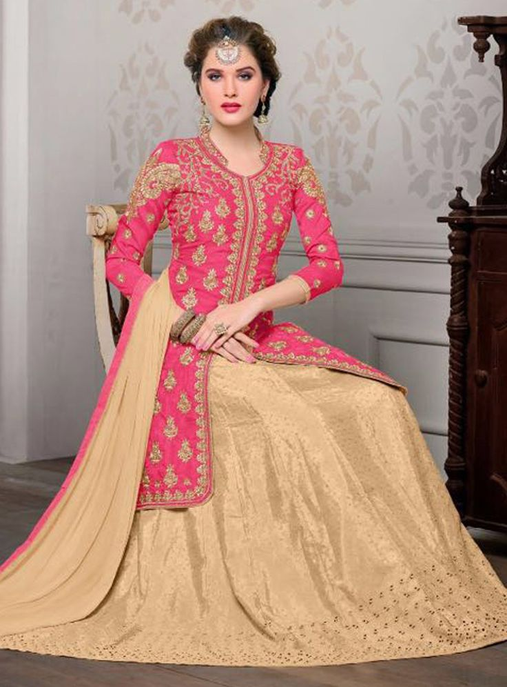 Pink Banglori Silk Center Slit Jacket Style Lehenga 84853