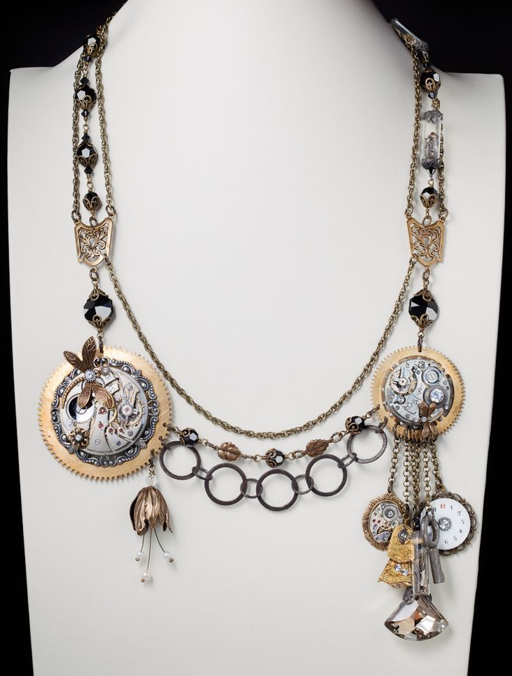 Steampunk Jewelry Couture Statement Necklace vintage silver pocket watch gold gears black crystal vial bottle dragonfly flower skeleton key. $495,00, via Etsy.