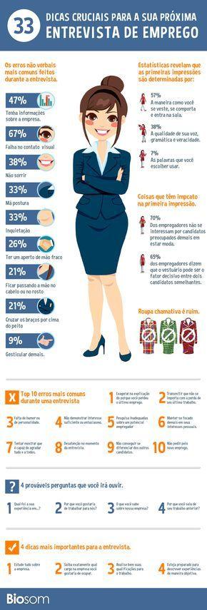 Veja mais dicas clicando na imagem. #emprego #entrevista #dicasparaentrevista #entrevistadeemprego