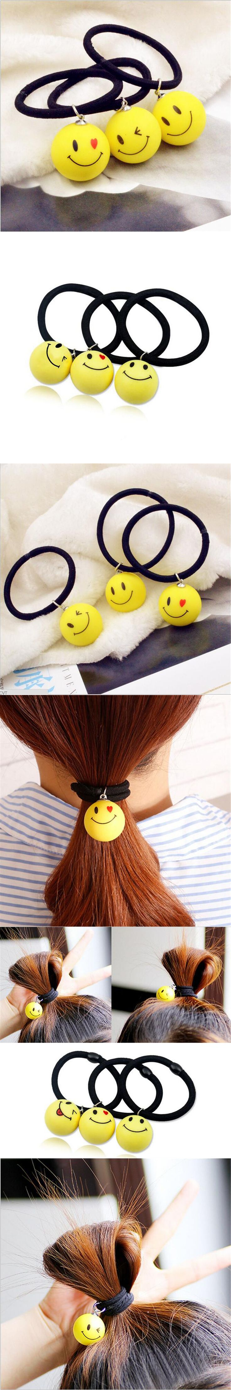 1 Pc New Fashion Cute Smile Face Elastic Hair Bands Headbands for Girls Kids Hairpins Emoji Hair Tie Headwear Hair Accessories
