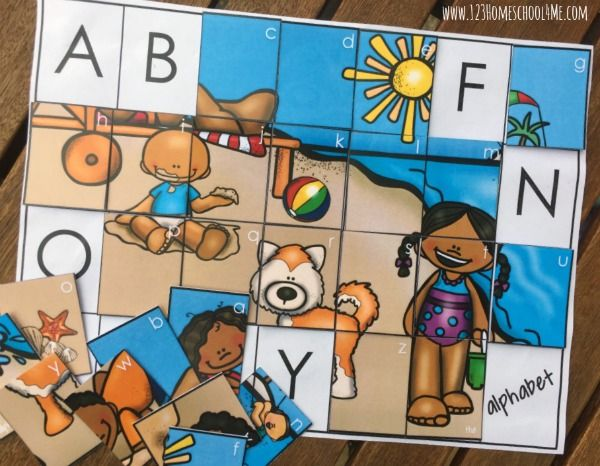FREE Alphabet Picture Puzzles - Such a fun way for kids to practice alphabet letters and matching uppercase and lowercase letters in a FUN hands on, educational activity for preschool, prek, and kindergarten age kids.