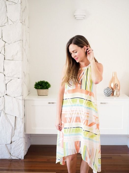 soniastyling.com wears 100% silk printed halter neck dress.