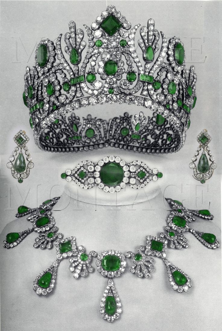 The tiara, ear pendants, brooch and necklace from the parure of Empress Marie Louise, who was only on the French throne from 1810 to 1814.