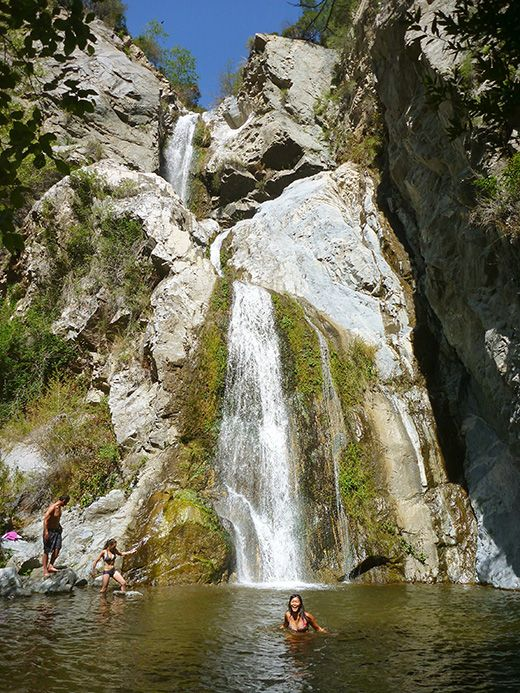 Fish canyon falls is an eighty foot tall three tiered for Lake fishing near los angeles