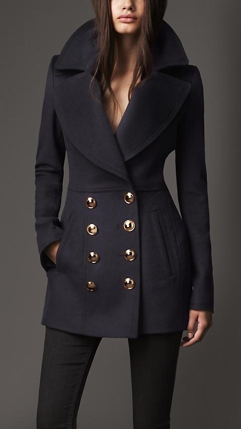 Fitted Wool Pea Coat