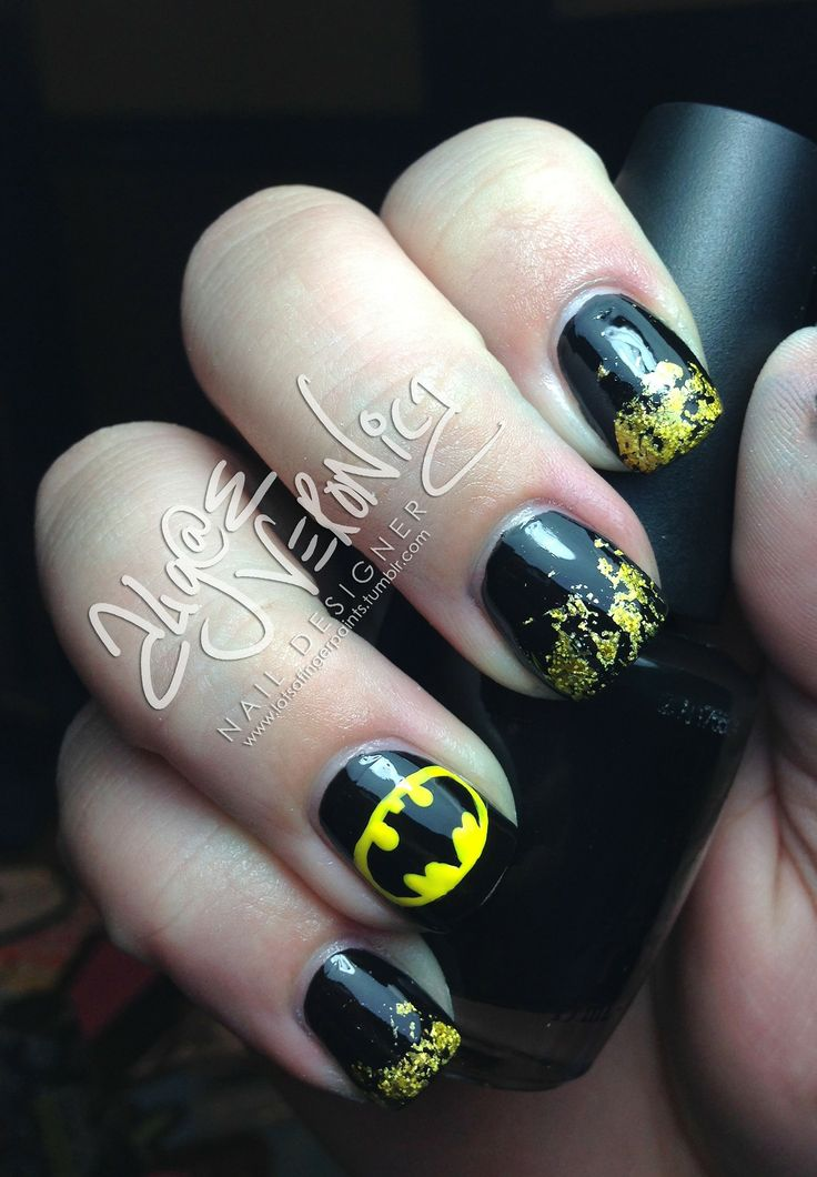 I am unfolding 30 easy & simple Batman nail art designs, ideas, trends &  stickers of Try these patterns on your nails using blacks, whites, yellows  and - Best 25+ Batman Nails Ideas On Pinterest Batman Nail Designs