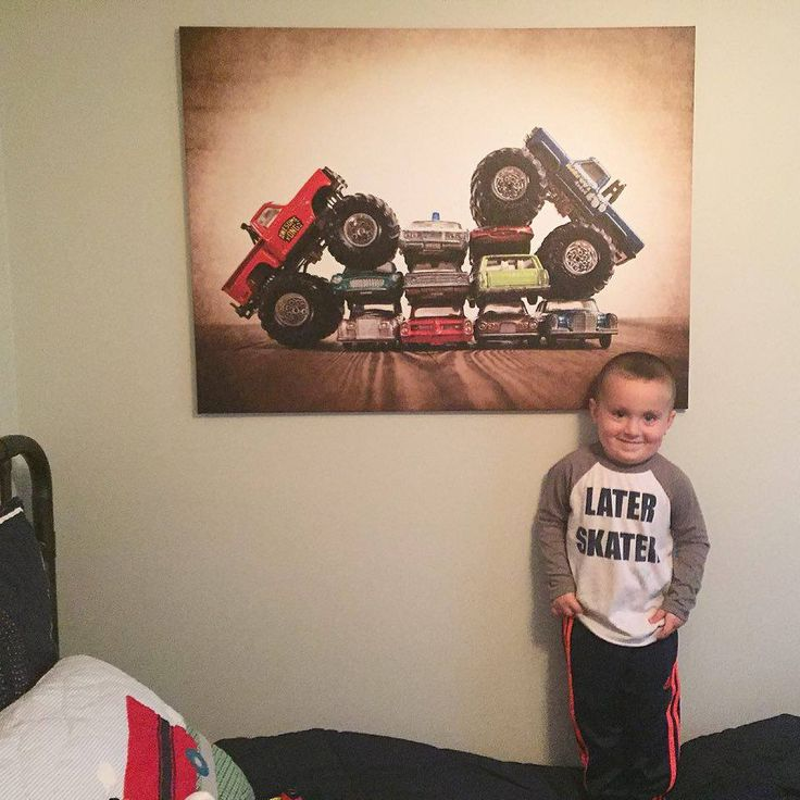This little guy is loving his Monster Truck Art from Saint and Sailor Studios.  This makes my day!
