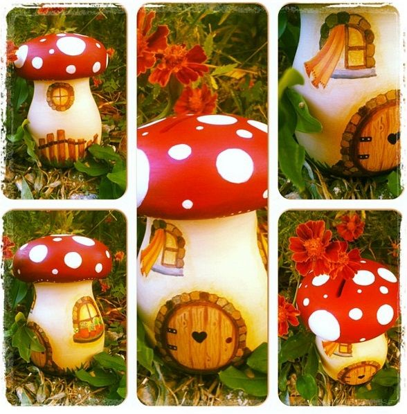 mushroom wooden money box www.facebook.com/SofiaFileasArt