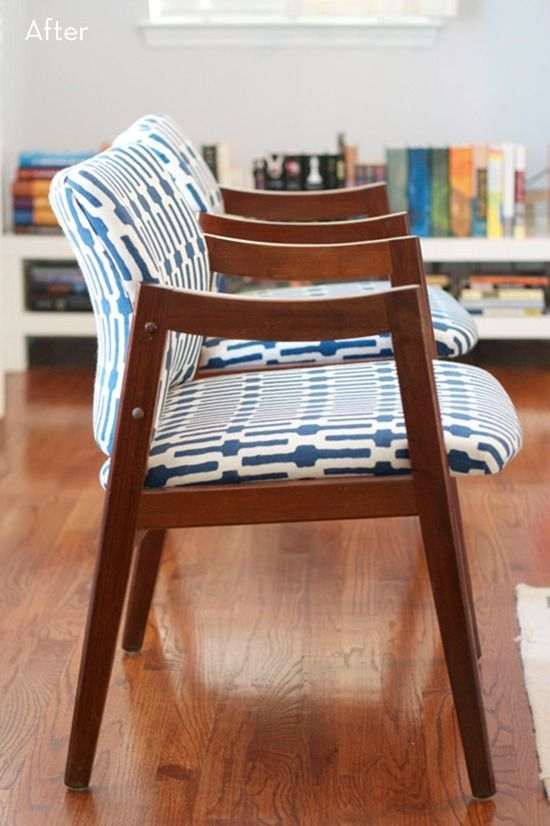Roundup: 12 Amazing Chair Upholstery Makeovers » Curbly | DIY Design Community #ChairUpholstery