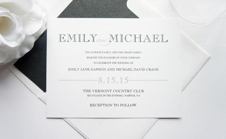 Silver Wedding Invitation Set, Modern Wedding Invitation, Belly Band, Wedding Invitation Suite, Gray and Black, Wedding Invites - DEPOSIT