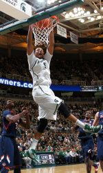 Michigan State junior forward Adreian Payne has decided to return to MSU for his senior season and will not enter the NBA Draft. Payne earned Second-Team All-Big Ten honors from the leagues coaches and media in 2012-13. He led the Spartans in rebounding (7.6 rpg), ranking third in the Big Ten, and ranked third on the team in scoring (10.5 ppg).