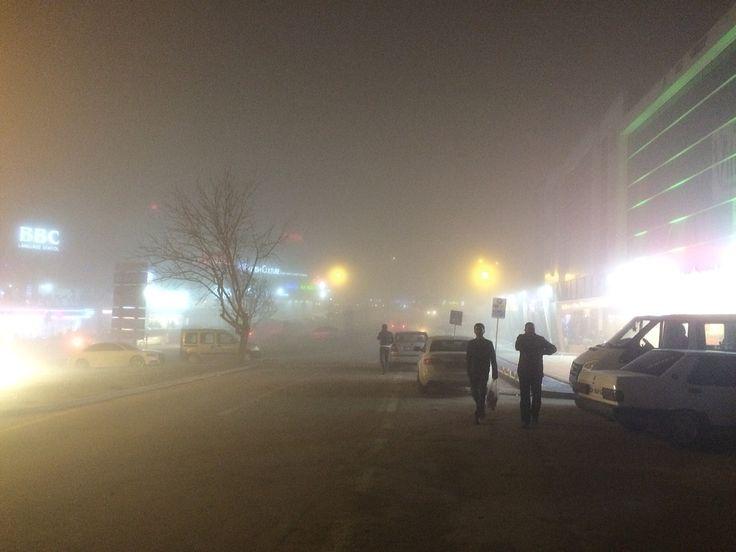 Bursa. Görükle. Foggy. Misty. Night. Lights. December