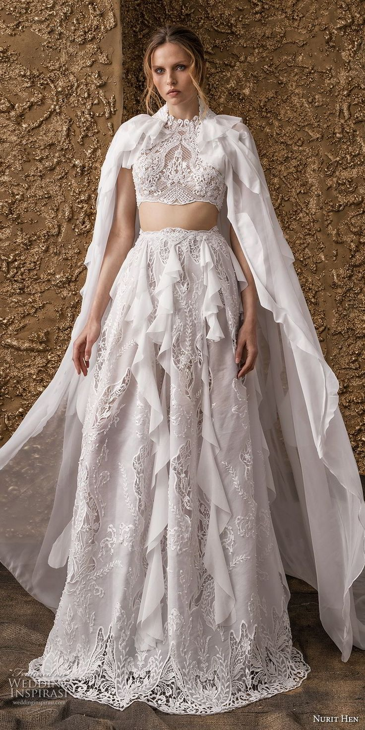 nurit hen 2018 bridal cold shoulder short sleeves high jewel neck full embellishment crop top bohemian modified a  line wedding dress covered lace back sweep train (12) mv -- Nurit Hen 2018 Wedding Dresses