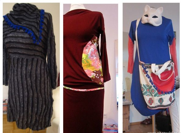 3 Jersey Dresses. Mibaboku presents Babushka Dress / Emma Peel Dress / Indian Blue Dress + Woodstocker Tasche #mibaboku #madewithlove #DIY
