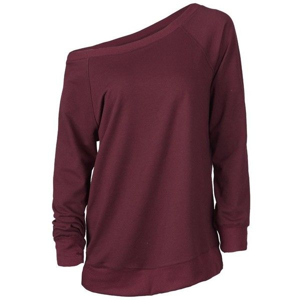 Cupshe Big Deal One Shoulder Sweatshirt (925 DOP) ❤ liked on Polyvore featuring tops, hoodies, sweatshirts, sweaters, shirts, long sleeves, off shoulder tops, cotton sweatshirts, purple one shoulder top and raglan top