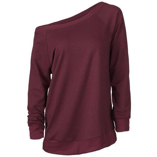 Cupshe Big Deal One Shoulder Sweatshirt (925 DOP) ❤ liked on Polyvore featuring tops, hoodies, sweatshirts, sweaters, shirts, long sleeves, off shoulder tops, cotton sweatshirts, purple one shoulder top and raglan top