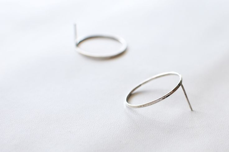 Thin and elegant circle earrings. Minimalist silver jewelry.  Details: Sterling silver, handmade in Stockholm, 25 mm diameter ∅