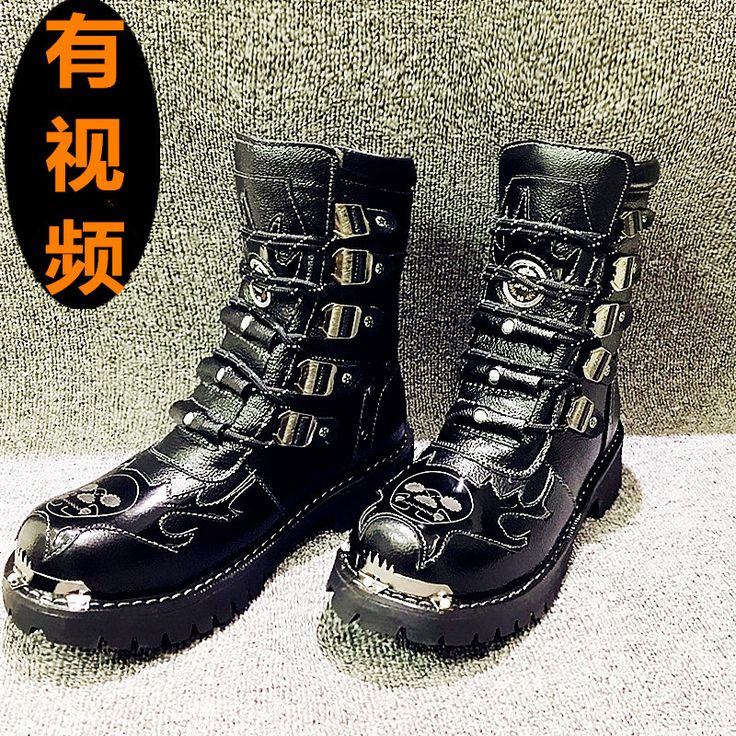 Autumn Winter Genuine Leather Fashion High-grade Personality Punk Men  Leather Boot Trend Korean Martin