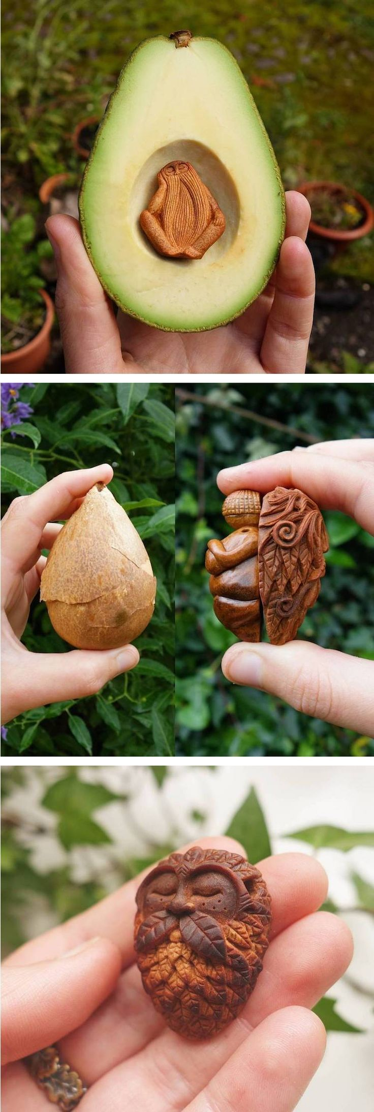 Jan Campbell creates her small carved sculptures out of an unconventional material: avocado stone.