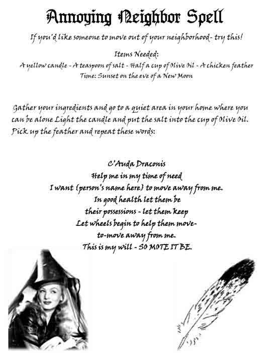 Real Spell to help with the Annoying Neighbo  Wicca Book of Shadows Parchment