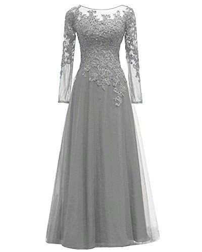 9cf98af16b6 EEFZL Women s Lace Appliques Mother of The Bride Dress Tulle Long Sleeves  Evening Prom Gown Beaded  dresses  eveningdresses