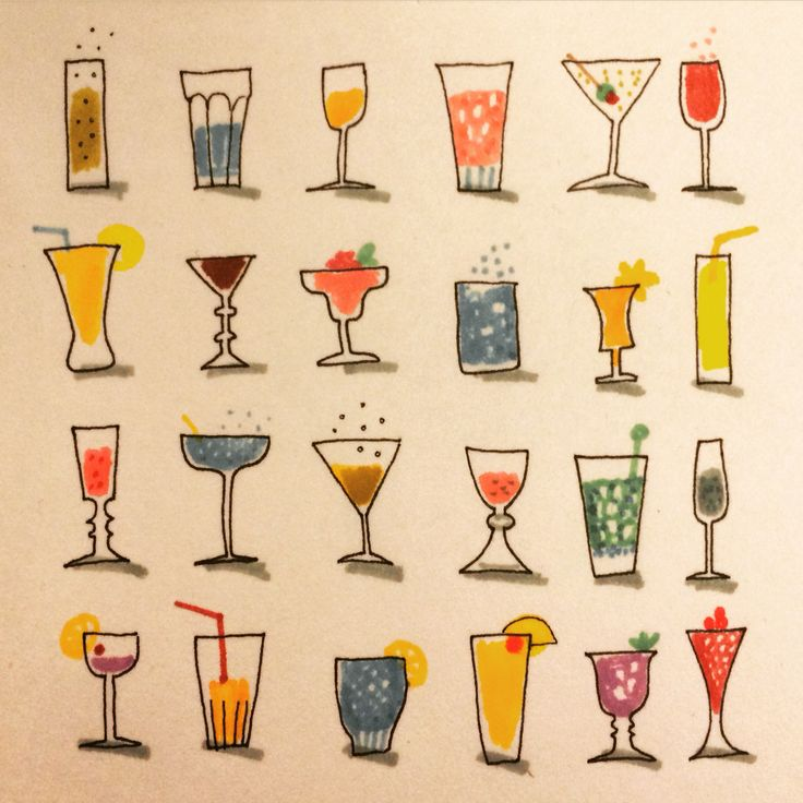 Beverage. Dryck. #illustration by Marie Åhfeldt - Mås Illustra #drink #cocktail