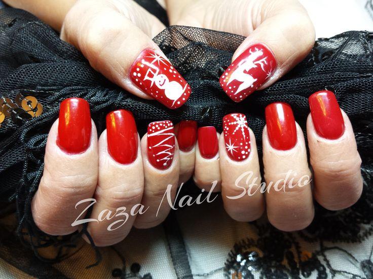 Ricostruzione ultra slim metodo KB Ultra Slim. Flamenco Red con nail art natalizie in gel!