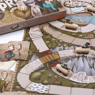 I am loving the detail in this gorgeous board game, complete with wooden cars - Grand Prix by Marbushka