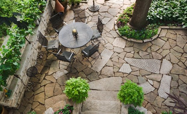 17 best images about paved garden on pinterest gardens for Courtyard stone landscape