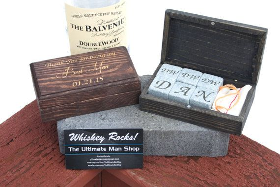 Unique Groomsmen Gift, 6 Engraved Whiskey Stones in Personalized Rectangle Box, The Perfect Valentine's, Birthday present for Whisky Lovers