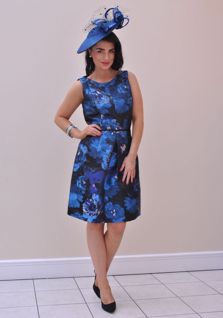 Tahari by Arthur S. Levine Floral Print Fit and Flare Dress, Blue