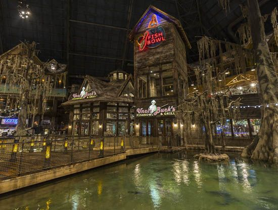 Bass Pro Shops Memphis Pyramid  600,000 gallon swamp (with alligators), restaurant, hotel, bowling alley