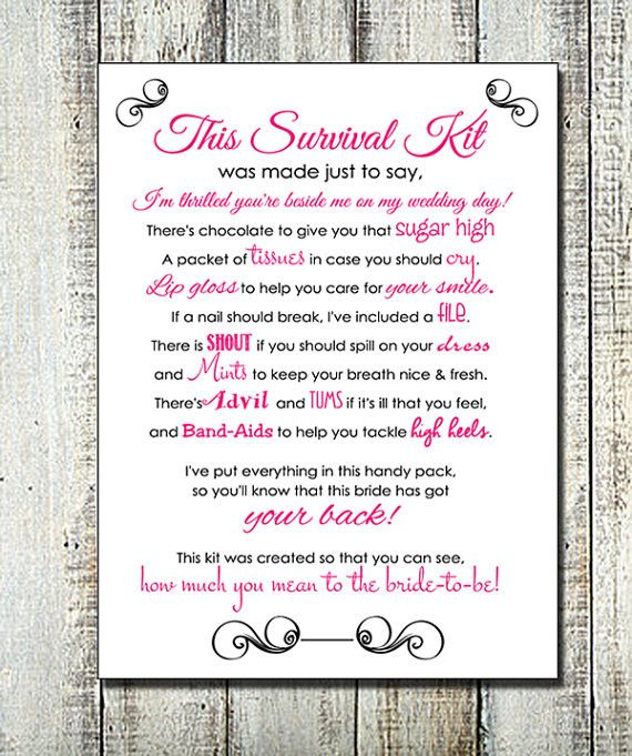 Now available in our store. Check it out here http://j-s-graphics.myshopify.com/products/printable-bridesmaid-survival-kit-poem-instant-download-digital-file-5x7-card-wedding-emergency-kit-for-bridesmaids?utm_campaign=social_autopilot&utm_source=pin&utm_medium=pin