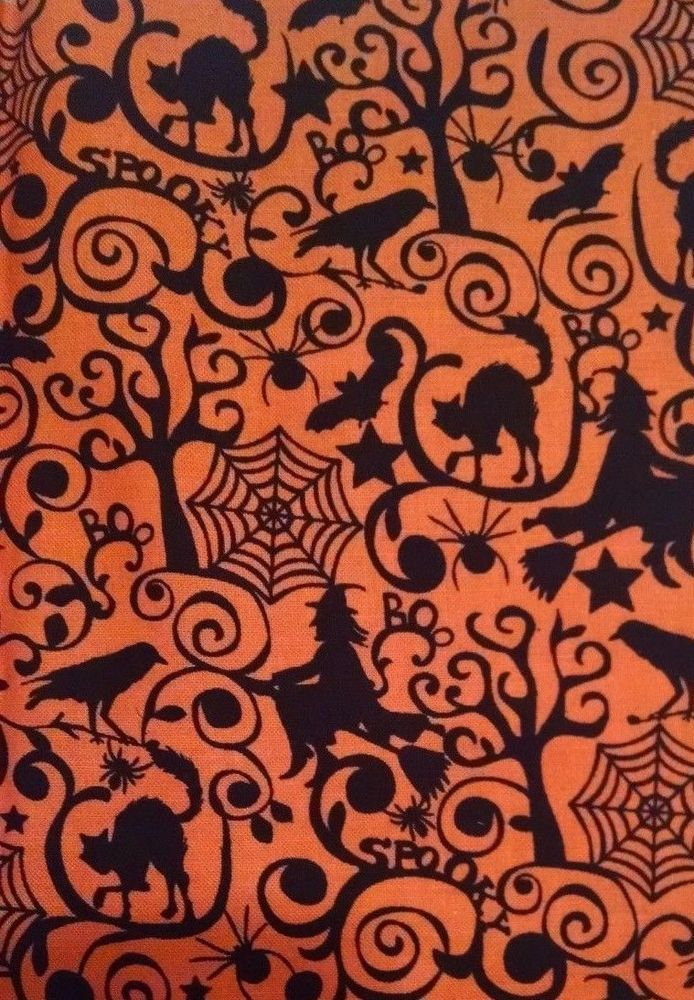 Brother Sister Halloween Sewing Fabric Orange Black Cats Witches Spiders 44x19 #BrotherSisterDesignStudio