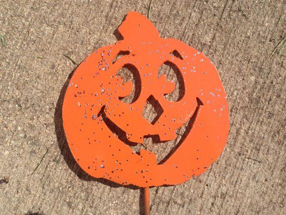 Pumpkin Metal Art Halloween Garden Yard Sign Stake by nbillmeyer