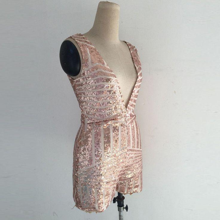 Sexy ladies jumpsuits Deep v-neck bodysuit Sleeveless sequin jumpsuit size 4-16 | eBay
