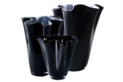 Set vasi vetro onlylux wave opale nero for Vasi vetro design