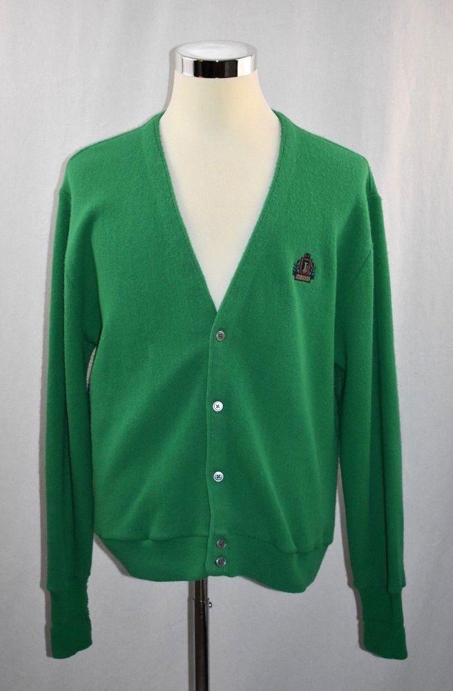 VINTAGE IZOD MENS Large Green Cardigan SWEATER Embroidered Crest BUTTON DOWN #IZOD #VNeck