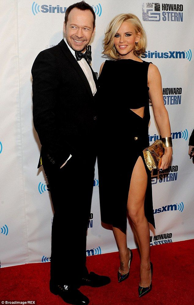 Red hot couple: Donnie Wahlberg and Jenny McCarthy pose at Howard Stern's birthday bash