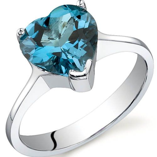 Revoni Striking 2.00 carats London Blue Topaz Engagement Ring in Sterling Silver 5sS6tmt