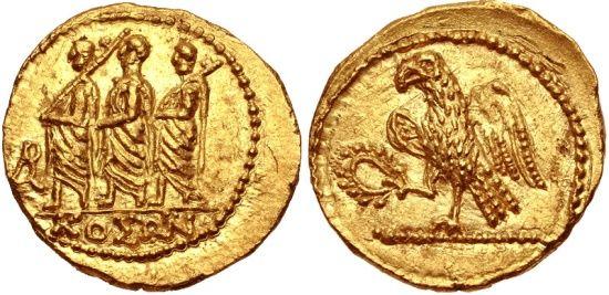 Ancient Coins - KOSON - BRUTUS - Proconsul/Imperator  42 BC.  (AV Stater 8.42g  20mm 12h)   Mint State