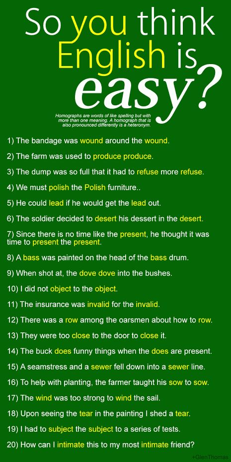 """So You Think English is Easy?""(interesting list of homographs)"