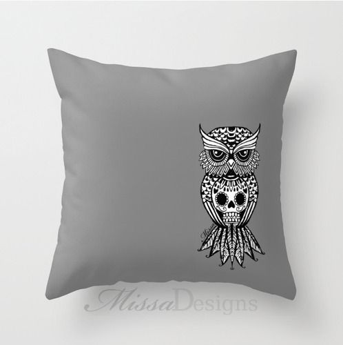 'Sugar Skull Hootle' cushion cover design Colourway: Grey with black owl. Design by Missa Designs. Copyright 2013