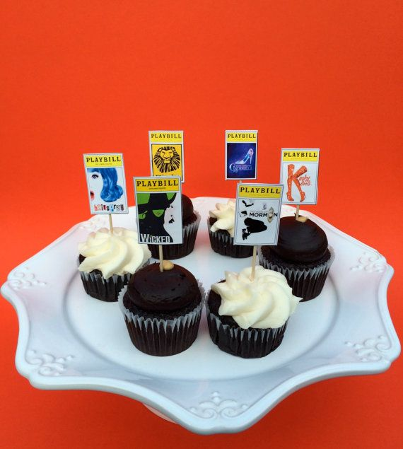 Broadway Party Playbill Cupcake Toppers set of by jacolynmurphy