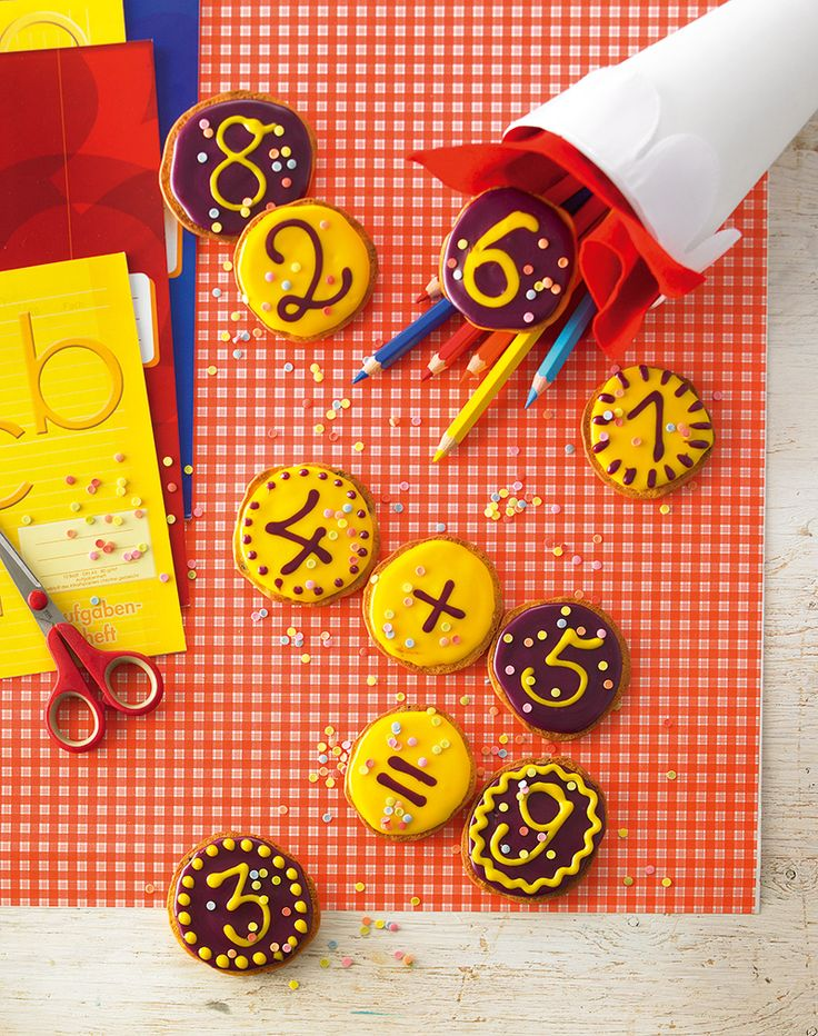 Rechenaufgaben-Amerikaner -  Amerikaner mit dekorativen Zahlen zur Einschulung