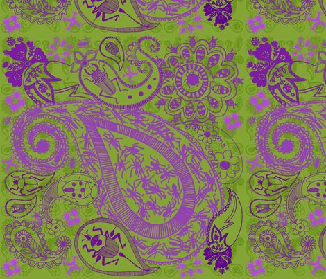 Bug Paisley green and purple fabric by mollymacliving on Spoonflower - custom fabric