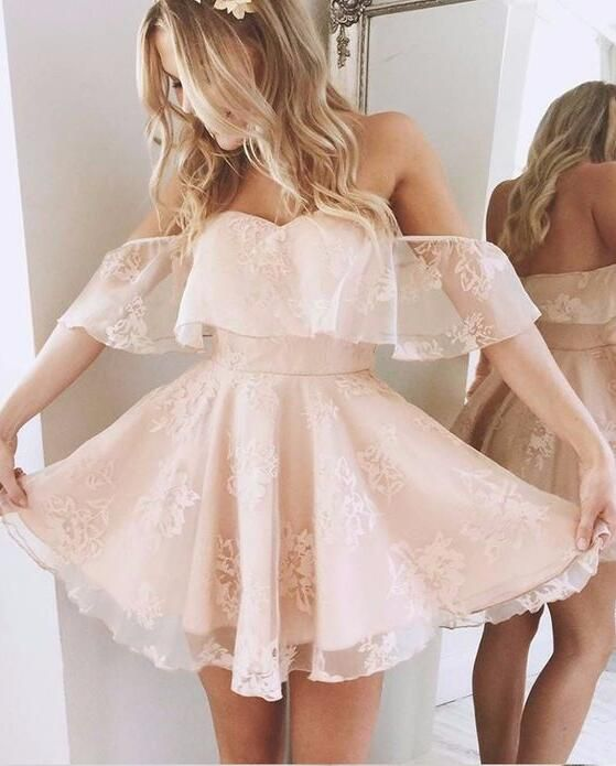 A Line Off the Shoulder Pink Lace Homecoming Dress,Short Party Dress,Pink Short Prom Dress